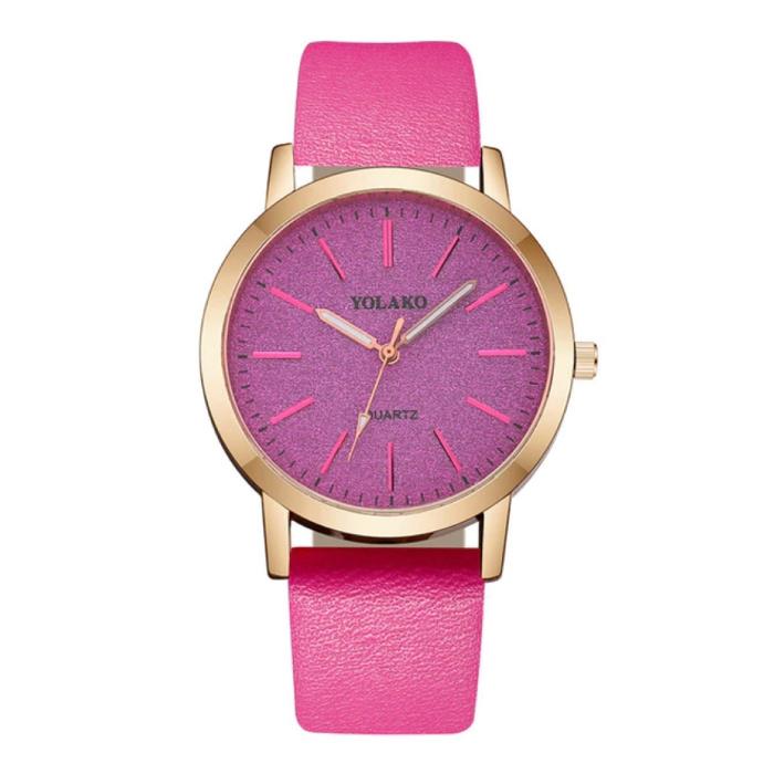 Kwarts Horloge Dames - Anoloog Luxe Uurwerk voor Vrouwen Magenta
