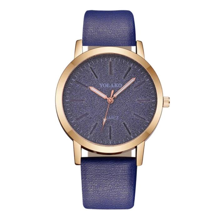 Montre à quartz pour femme - Mouvement de luxe Anologue pour femme Bleu