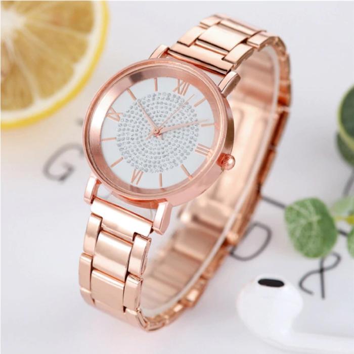 Horloge Luxe Dames - Anoloog Kwarts Uurwerk voor Vrouwen Wit