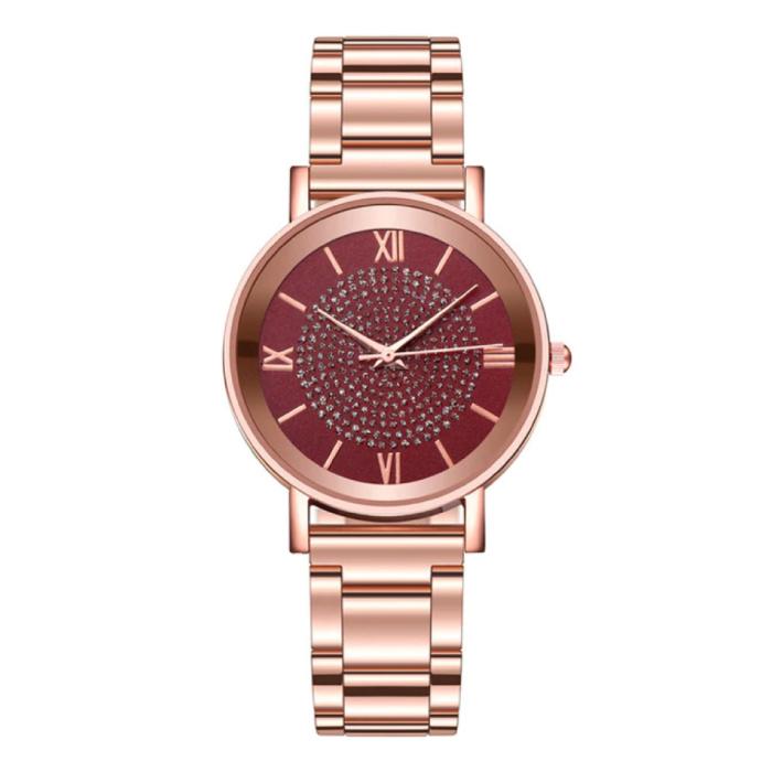 HEZHUKEJI Horloge Luxe Dames - Anoloog Kwarts Uurwerk voor Vrouwen Rood