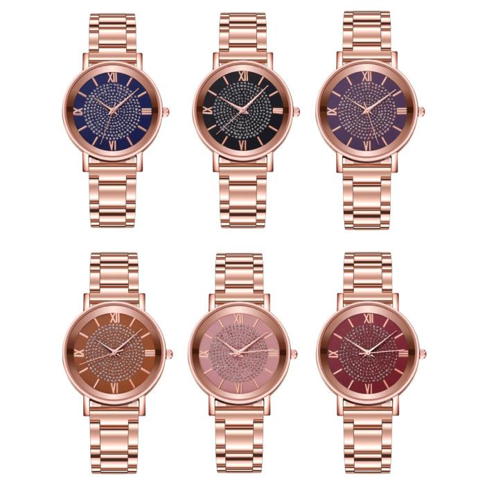 HEZHUKEJI Horloge Luxe Dames - Anoloog Kwarts Uurwerk voor Vrouwen Paars