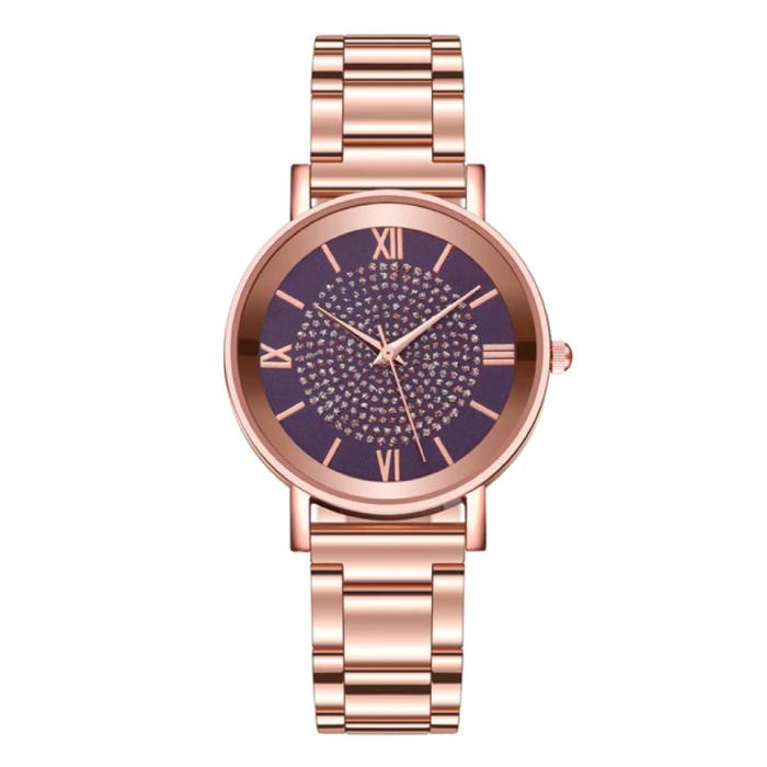 Horloge Luxe Dames - Anoloog Kwarts Uurwerk voor Vrouwen Paars