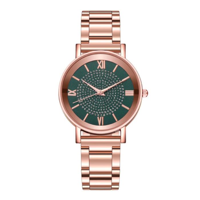 Horloge Luxe Dames - Anoloog Kwarts Uurwerk voor Vrouwen Groen