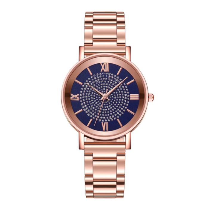 Montre de luxe pour dames - Mouvement à quartz Anologue pour femme bleu