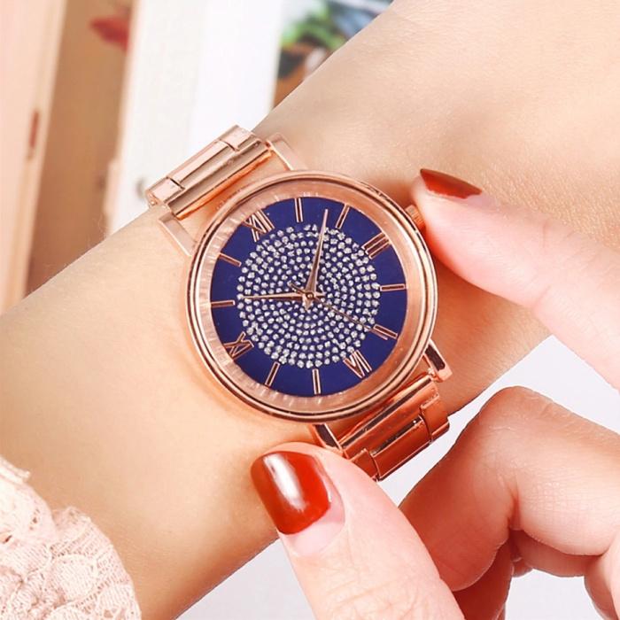 HEZHUKEJI Horloge Luxe Dames - Anoloog Kwarts Uurwerk voor Vrouwen Blauw