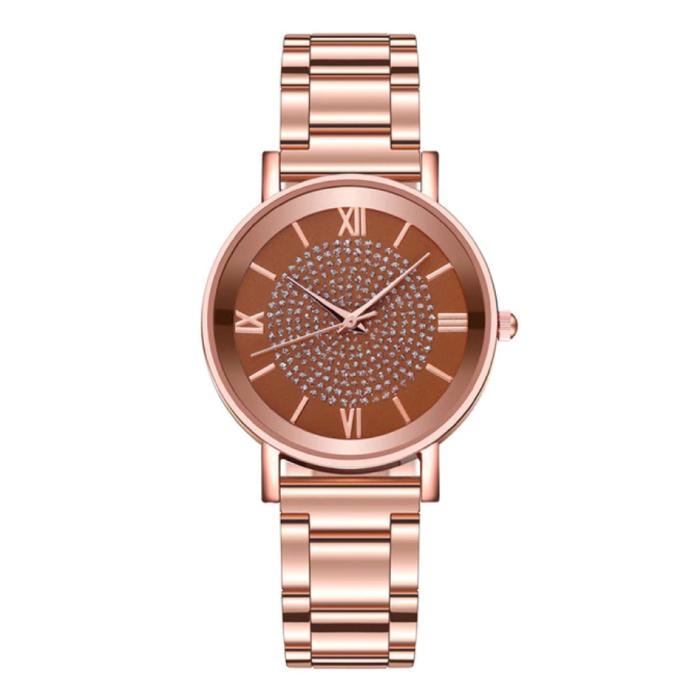 Horloge Luxe Dames - Anoloog Kwarts Uurwerk voor Vrouwen Bruin