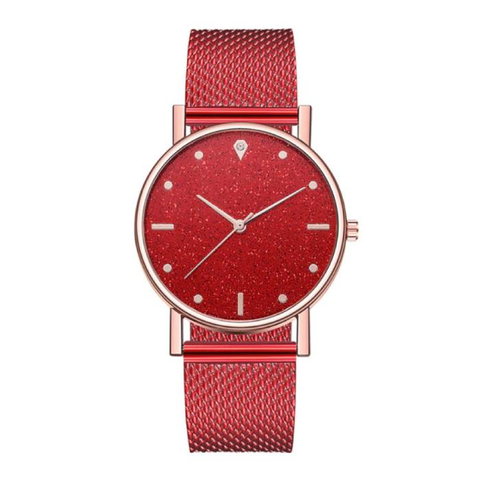 Horloge Kwarts Dames - Luxe Anoloog Uurwerk voor Vrouwen Rood