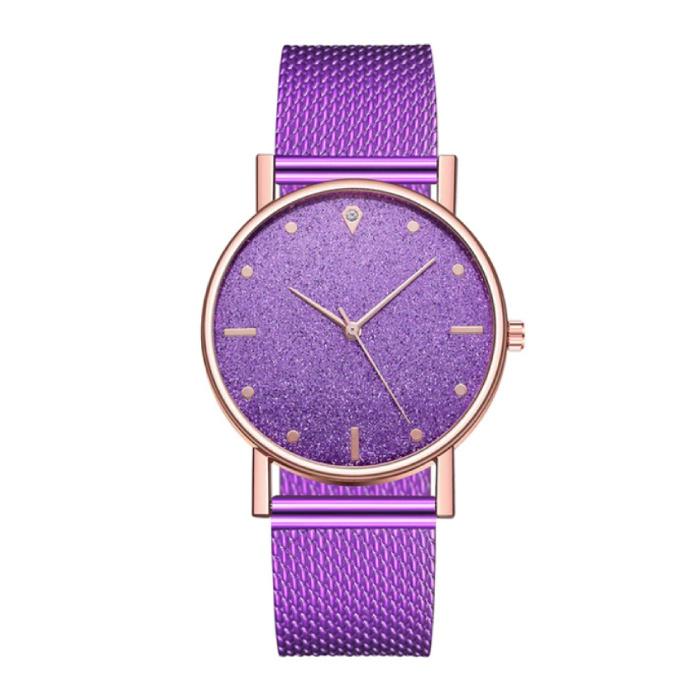 Horloge Kwarts Dames - Luxe Anoloog Uurwerk voor Vrouwen Paars