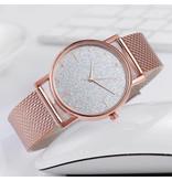 HEZHUKEJI Horloge Kwarts Dames - Luxe Anoloog Uurwerk voor Vrouwen Paars