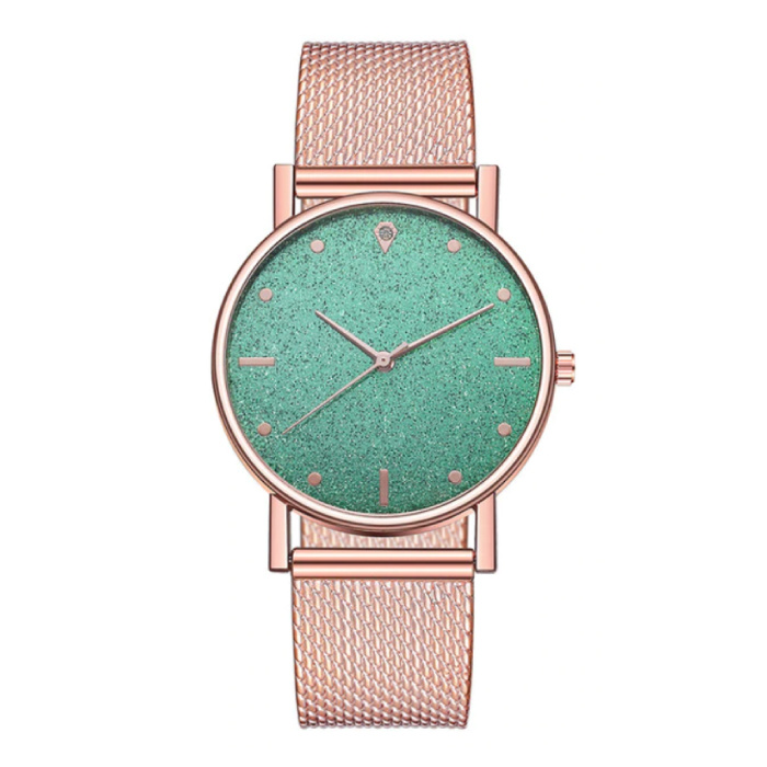 Horloge Kwarts Dames - Luxe Anoloog Uurwerk voor Vrouwen Groen