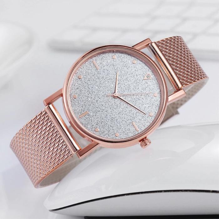 HEZHUKEJI Horloge Kwarts Dames - Luxe Anoloog Uurwerk voor Vrouwen Blauw