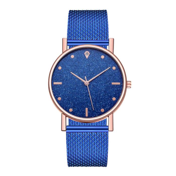 Horloge Kwarts Dames - Luxe Anoloog Uurwerk voor Vrouwen Blauw