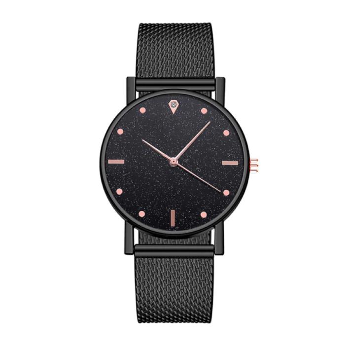 Horloge Kwarts Dames - Luxe Anoloog Uurwerk voor Vrouwen Zwart