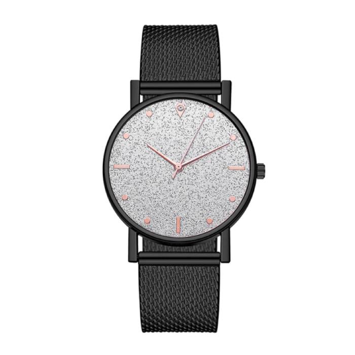 Horloge Kwarts Dames - Luxe Anoloog Uurwerk voor Vrouwen Zwart-Wit