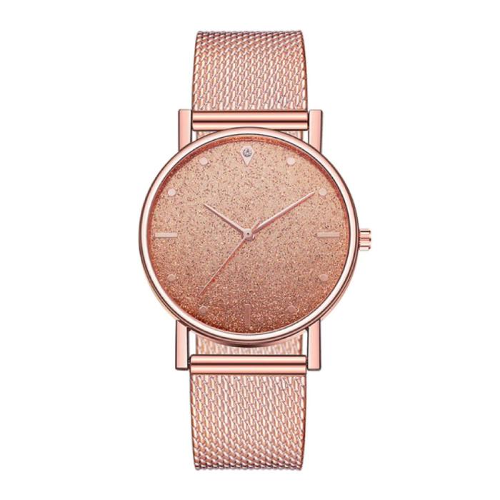 Montre à quartz pour femme - Mouvement Anologue de luxe pour femme en or rose