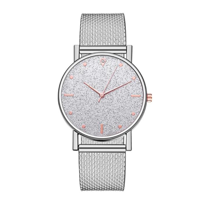 Horloge Kwarts Dames - Luxe Anoloog Uurwerk voor Vrouwen Zilver