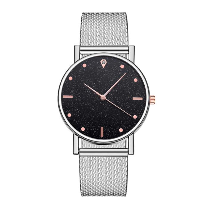 Horloge Kwarts Dames - Luxe Anoloog Uurwerk voor Vrouwen Zilver-Zwart