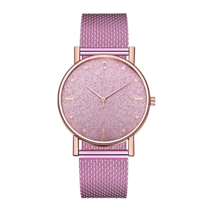 Horloge Kwarts Dames - Luxe Anoloog Uurwerk voor Vrouwen Roze