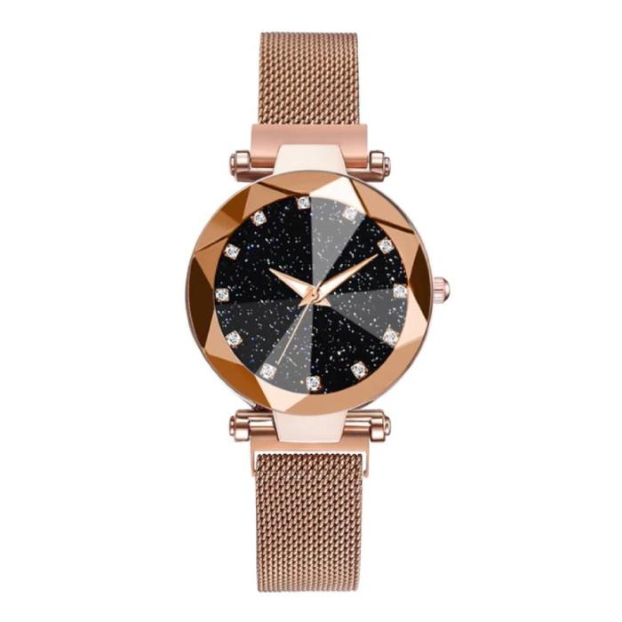 Starry Night Horloge Dames - Luxe Anoloog Kwarts Uurwerk voor Vrouwen Goud
