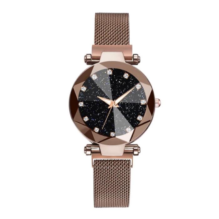 Starry Night Horloge Dames - Luxe Anoloog Kwarts Uurwerk voor Vrouwen Bruin