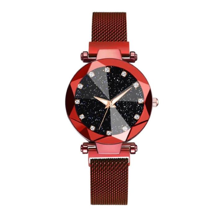 Starry Night Horloge Dames - Luxe Anoloog Kwarts Uurwerk voor Vrouwen Rood