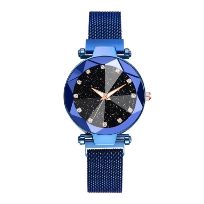 Starry Night Horloge Dames - Luxe Anoloog Kwarts Uurwerk voor Vrouwen Blauw