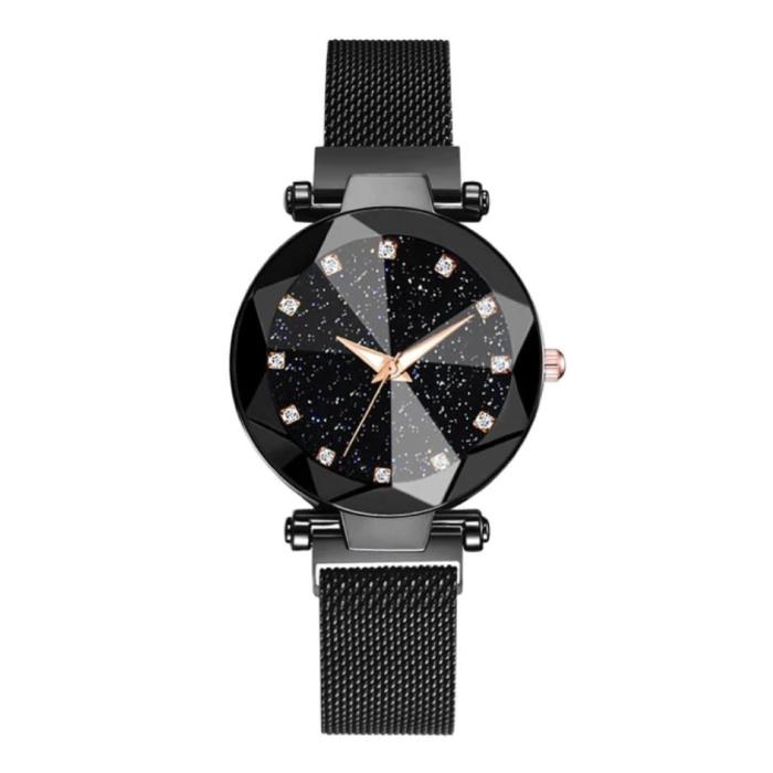 Starry Night Horloge Dames - Luxe Anoloog Kwarts Uurwerk voor Vrouwen Zwart