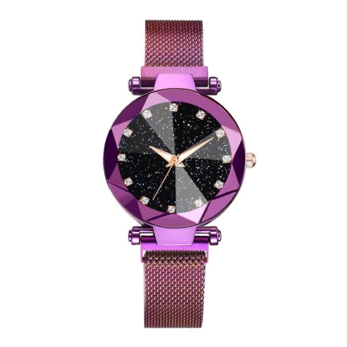 Starry Night Horloge Dames - Luxe Anoloog Kwarts Uurwerk voor Vrouwen Paars