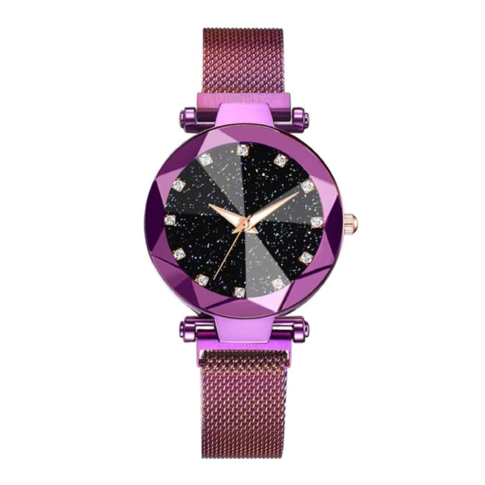 Starry Night Watch Ladies - Mouvement à quartz de luxe Anologue pour femme Violet