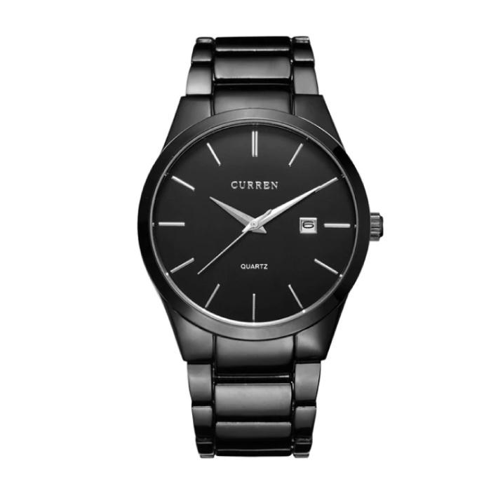 Quarz Luxusuhr - Lederarmband Anologue Uhrwerk für Herren - Edelstahl - Schwarz