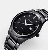 Curren Kwarts Luxe Horloge - Leren Bandje Anoloog Uurwerk voor Heren - Roestvrij staal - Zwart