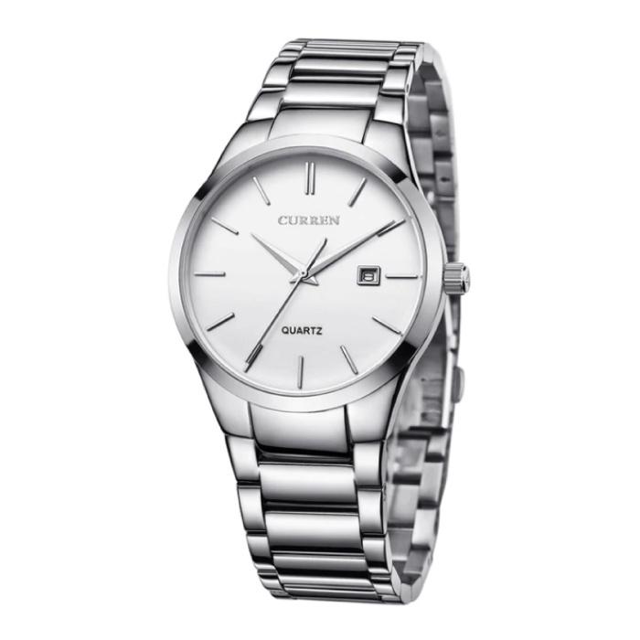 Kwarts Luxe Horloge - Leren Bandje Anoloog Uurwerk voor Heren - Roestvrij staal - Zilver