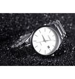 Curren Kwarts Luxe Horloge - Leren Bandje Anoloog Uurwerk voor Heren - Roestvrij staal - Zilver