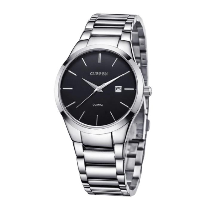 Quarz Luxusuhr - Lederarmband Anologue Uhrwerk für Herren - Edelstahl - Silber-Schwarz