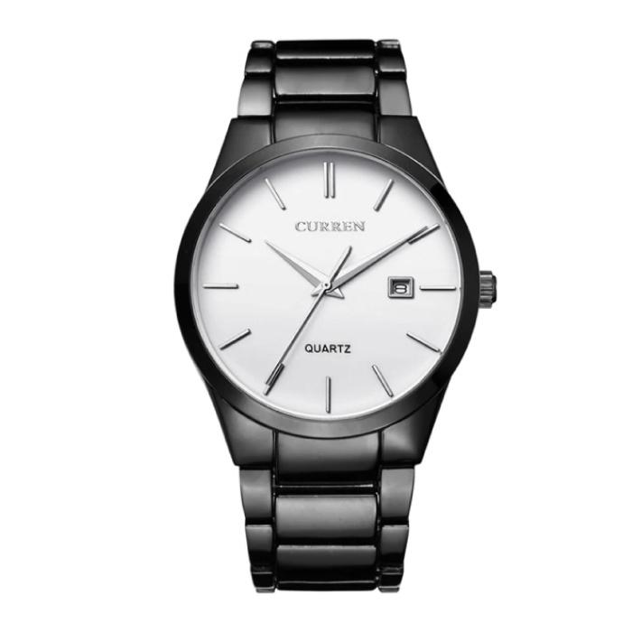 Kwarts Luxe Horloge - Leren Bandje Anoloog Uurwerk voor Heren - Roestvrij staal - Zwart-Wit