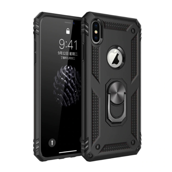 iPhone XS Hoesje  - Shockproof Case Cover Cas TPU Zwart + Kickstand