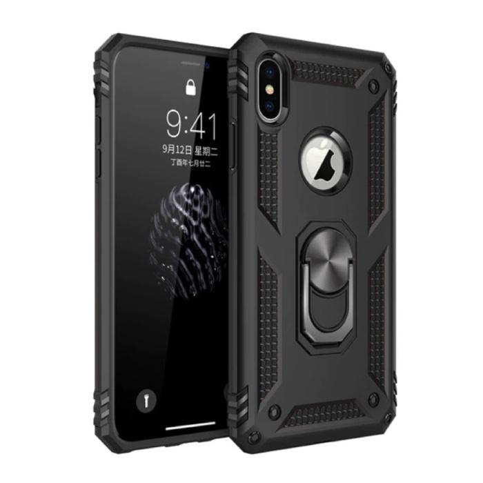 iPhone XR Hoesje  - Shockproof Case Cover Cas TPU Zwart + Kickstand