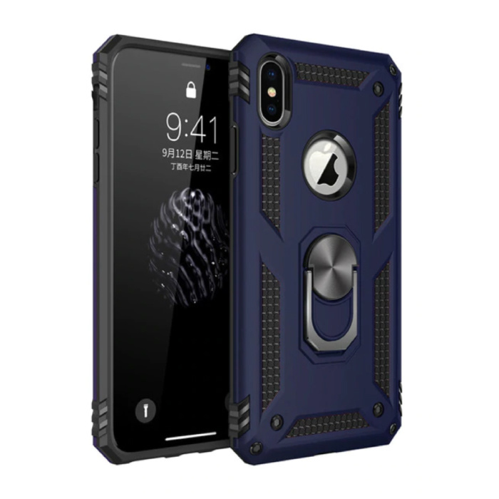 iPhone XS Max Hoesje  - Shockproof Case Cover Cas TPU Blauw + Kickstand