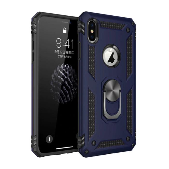 iPhone 8 Plus Hoesje  - Shockproof Case Cover Cas TPU Blauw + Kickstand