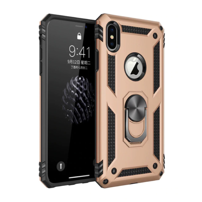 iPhone X Hoesje  - Shockproof Case Cover Cas TPU Goud + Kickstand