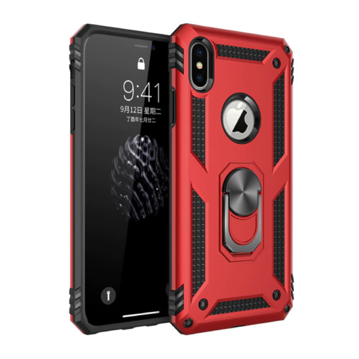 iPhone 8 Plus Hoesje  - Shockproof Case Cover Cas TPU Rood + Kickstand