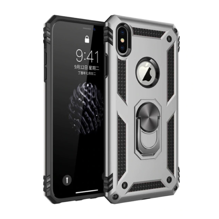 iPhone XS Max Hoesje  - Shockproof Case Cover Cas TPU Grijs + Kickstand