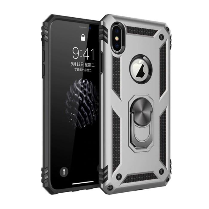 iPhone X Hoesje  - Shockproof Case Cover Cas TPU Grijs + Kickstand