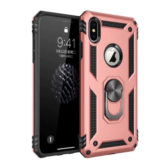Coque iPhone X - Housse Antichoc Cas TPU Rose + Béquille