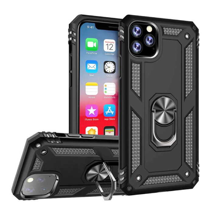 iPhone 11 Pro Max Hoesje  - Shockproof Case Cover Cas TPU Zwart + Kickstand