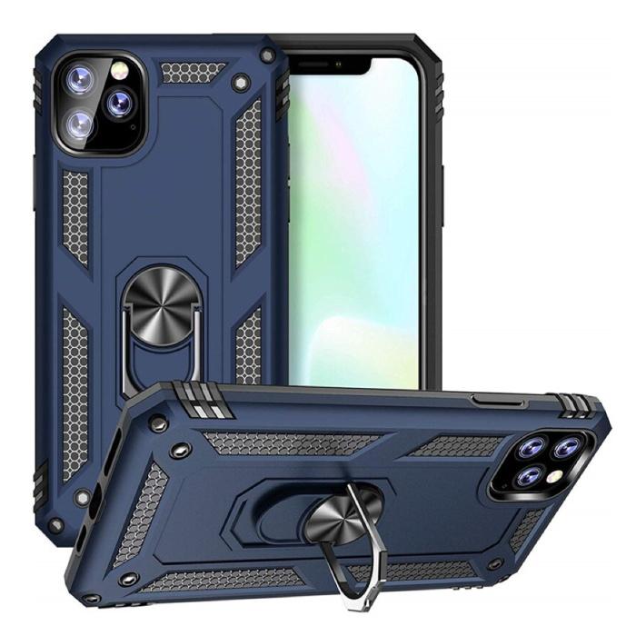 Coque iPhone 11 Pro Max - Coque Antichoc Cas TPU Bleu + Béquille