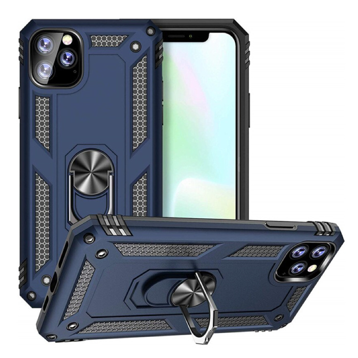 iPhone 11 Pro Max Hoesje  - Shockproof Case Cover Cas TPU Blauw + Kickstand