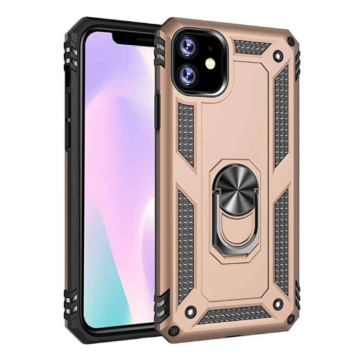 iPhone 11 Hoesje  - Shockproof Case Cover Cas TPU Goud + Kickstand