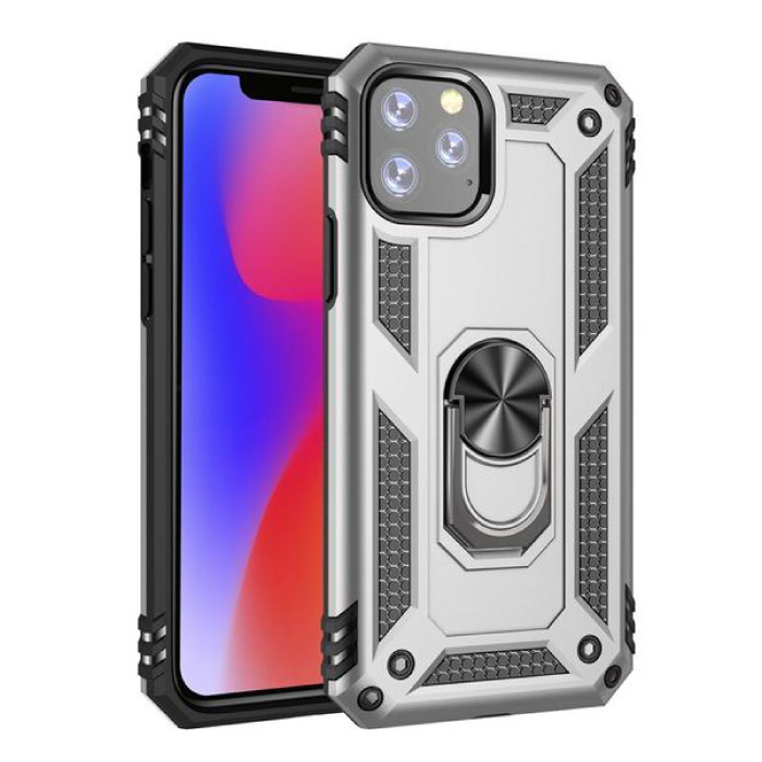 iPhone 11 Pro Max Hoesje  - Shockproof Case Cover Cas TPU Grijs + Kickstand