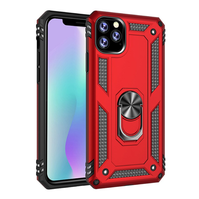 iPhone 11 Pro Max Hoesje  - Shockproof Case Cover Cas TPU Rood + Kickstand